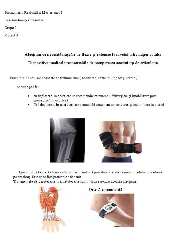 deplasarea tratamentului articulației cotului)