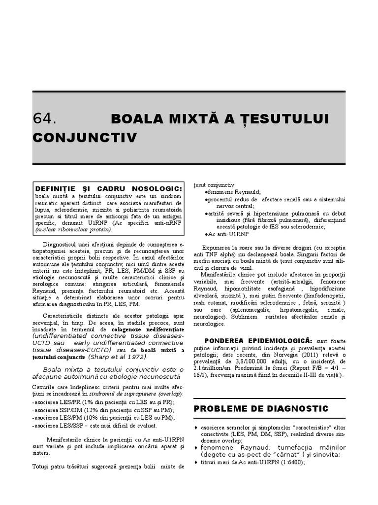 simptome și sindroame ale bolilor țesutului conjunctiv