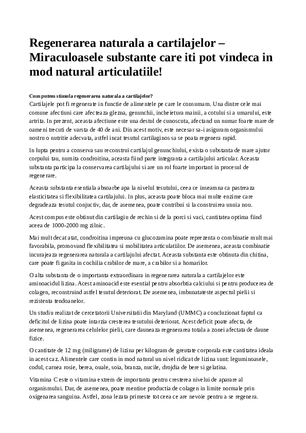 TRATAMENTUL LEZIUNILOR DE CARTILAJ ARTICULAR